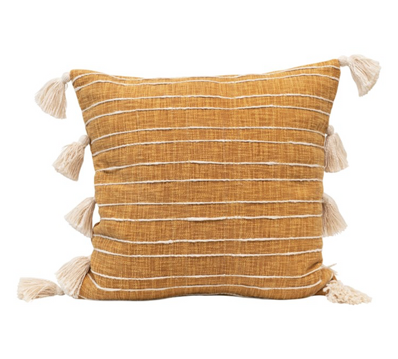 Mustard Striped Pillow w/ Tassels
