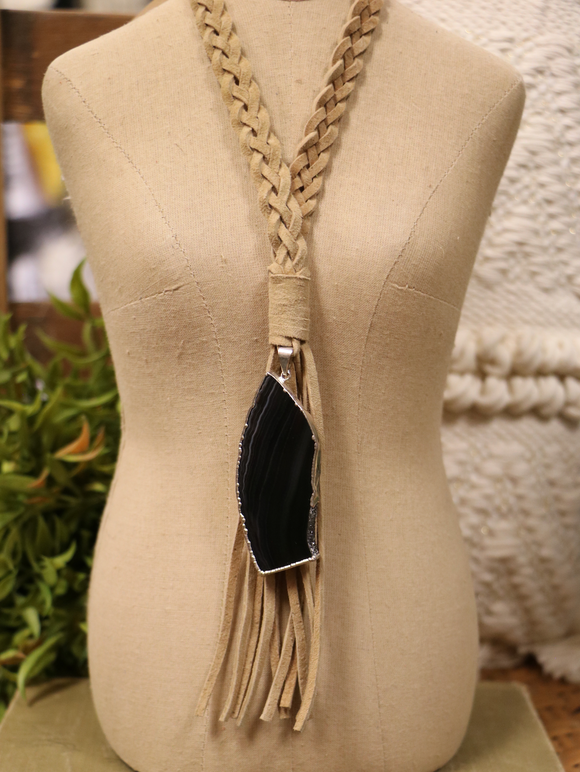 Black Agate Pendant Braided Leather Necklace