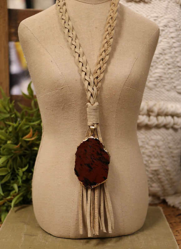 Rust Jasper Pendant + Braided Leather Necklace