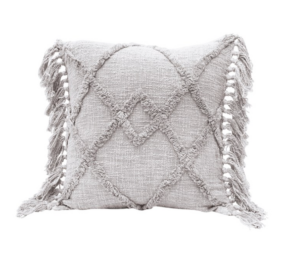 Square Grey Tufted Pillow w/ Tassels