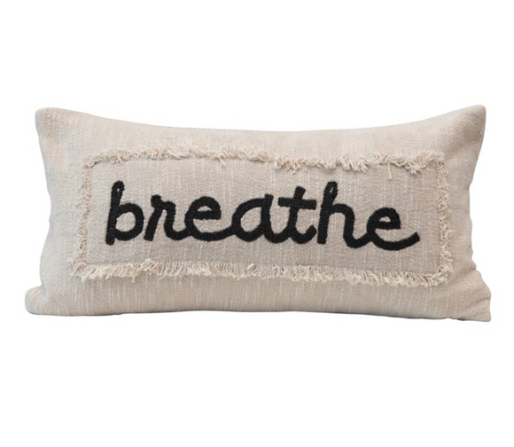 Breathe Embroidered Pillow w/ Eyelash Fringe