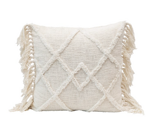 Square Cream Tufted Pillow w/ Tassels