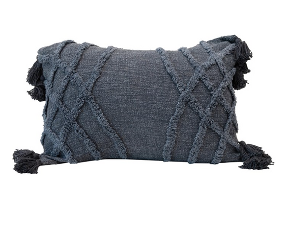 Navy Tufted Slub Pillow w/ Tassels