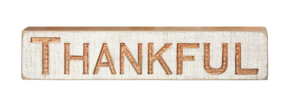Carved Thankful Sign