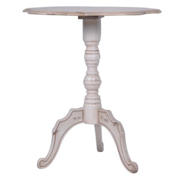 Ashleigh Scalloped Antique White Side Table