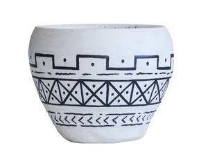 Black & White Hand-Painted Pot