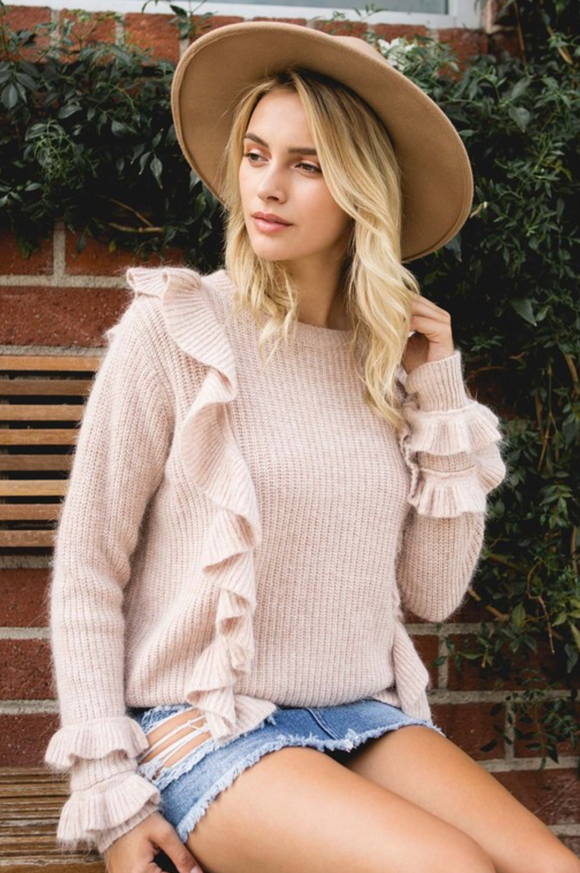 Dusty Pink Ruffle Sweater