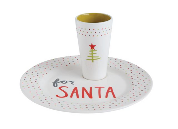 Ceramic For Santa Plate & Cup Set