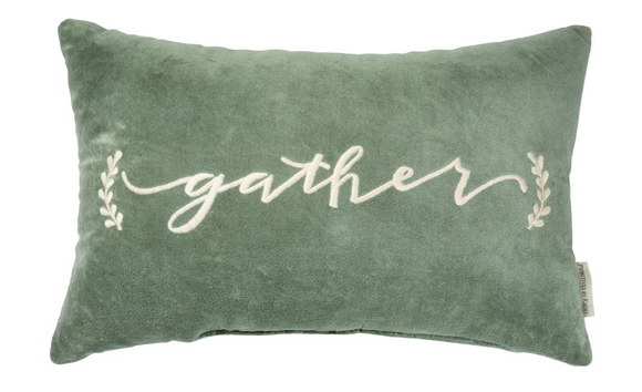 Velvet Green Gather Pillow