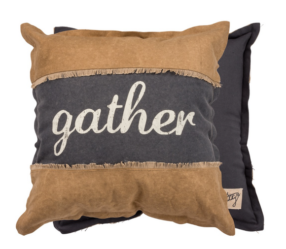Canvas Gather Pillow Navy & Brown