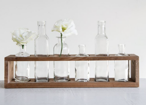 Wood Holder w/ Six Glass Bottles
