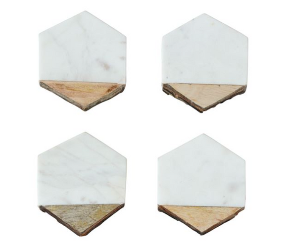 Hexagon Mango Wood & Marble Coaster Set
