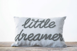 Little Dreamer Grey Embroidered Pillow