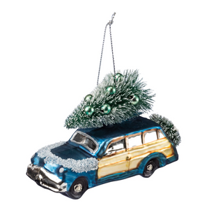 Glass Blue Car Ornament
