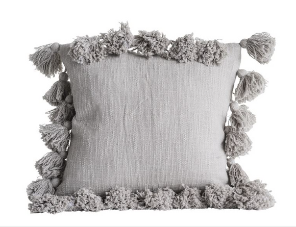 Grey Cotton Pillow w/ Tassels