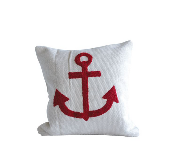 Embroidered Anchor Pillow