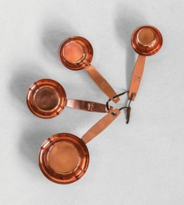 Copper Measuring Cup Set w/ Leather Tie