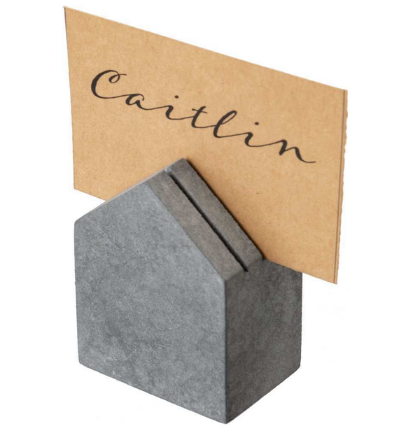 Grey Wooden House Place Card Holder