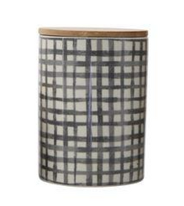 Black Grid Pattern Stoneware Canister w/ Bamboo Lid