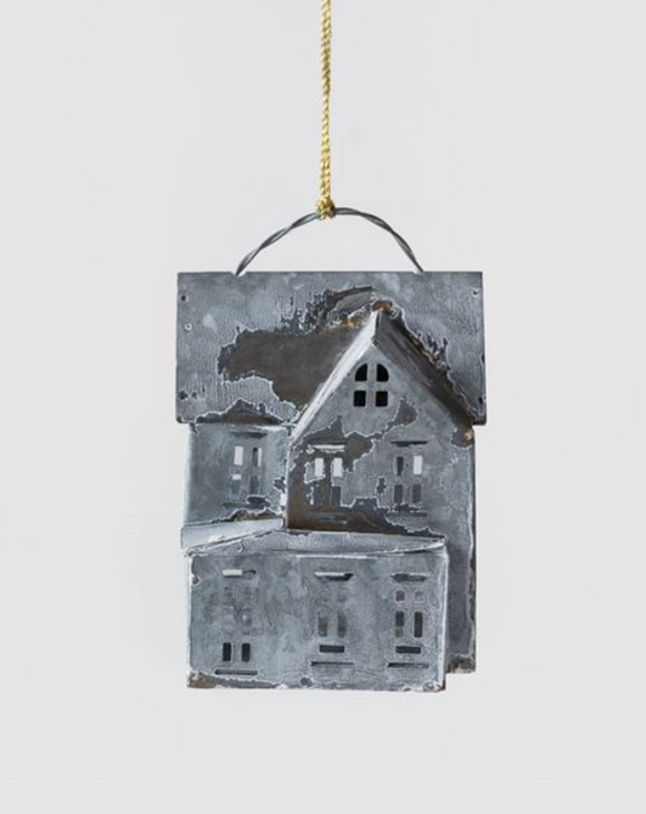 Galvanized Metal House Ornament