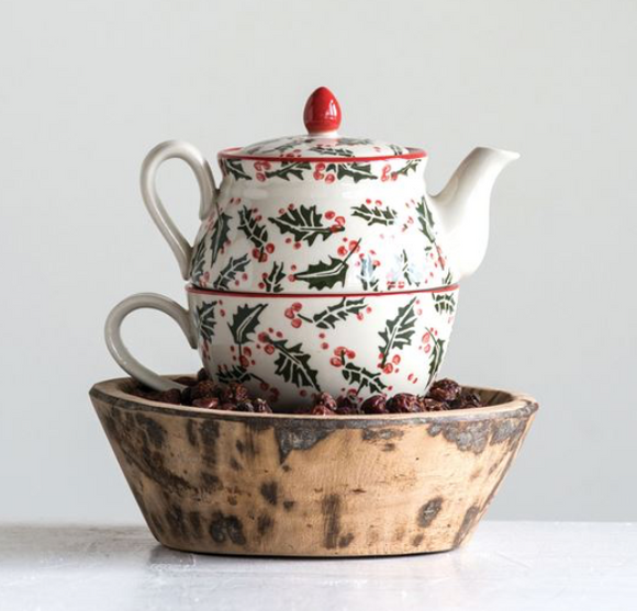 Hand-Stamped Stoneware Tea Pot Set