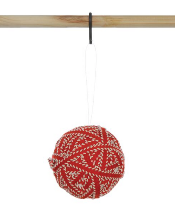 Red & White Yarn Ball Ornament