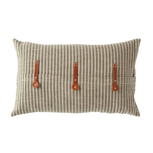 Vintage-style Ticking Striped Pillow w/ Leather Trim