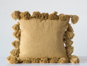 Mustard Cotton Pillow w/ Tassels