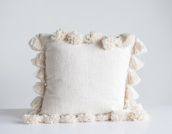Cream Square Cotton Pillow w/ Tassels