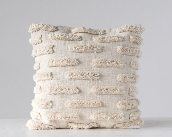 Sheepish Square Cotton Pillow w/ Fringe