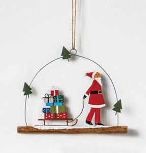 Hand-Painted Metal Santa & Sled Ornament