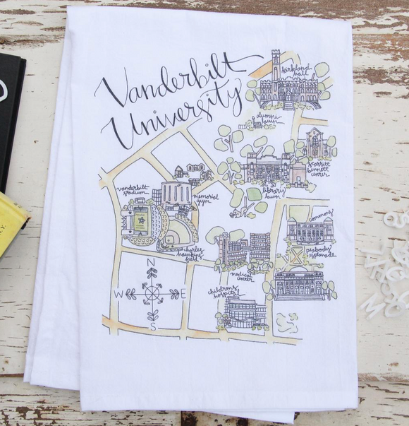 Vanderbilt University Map Tea Towel