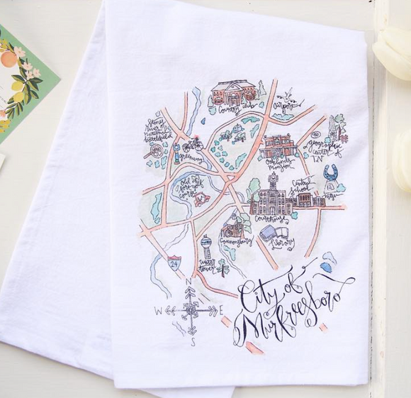 Murfreesboro Map Tea Towel