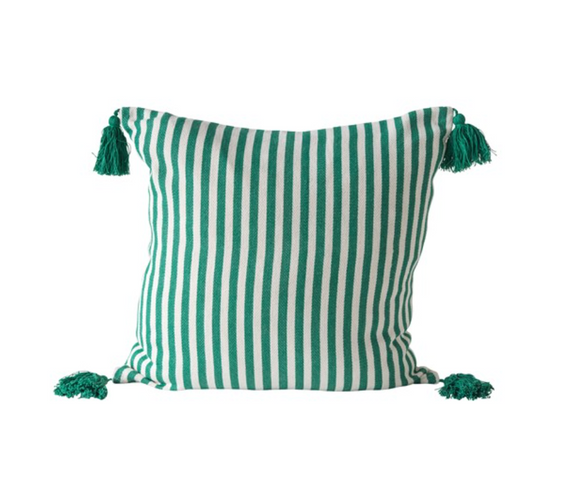Square Green Striped Pillow w/ Tassels