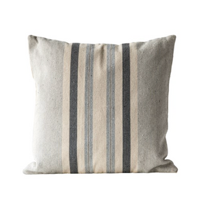 Square Striped Grey Pillow