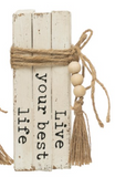 Wood Block Books with Saying & Jute Tie