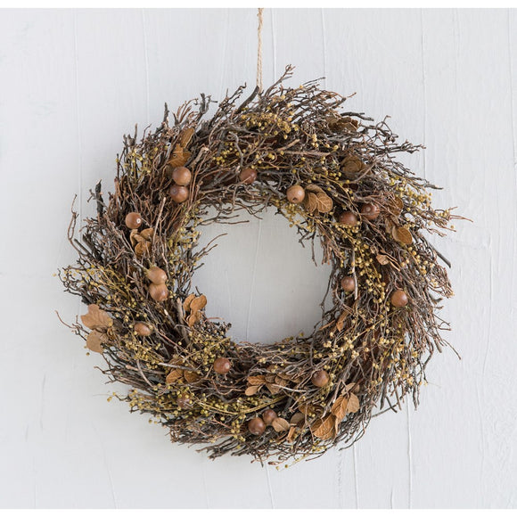 Natural Twig & Leaf Wreath