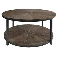 Jackson Round Metal & Wood Coffee Table