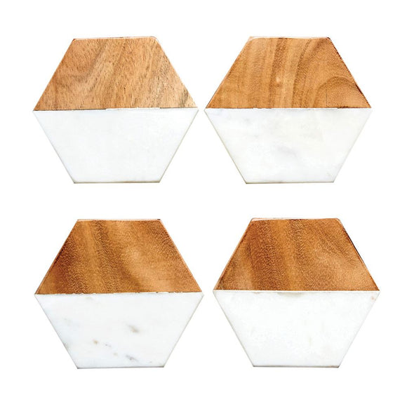 Hexagon Marble & Mango Wood Coaster Set
