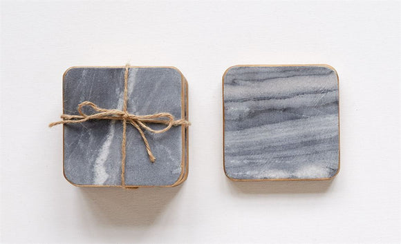 Grey Square Marble Coasters w/ Gold Edge