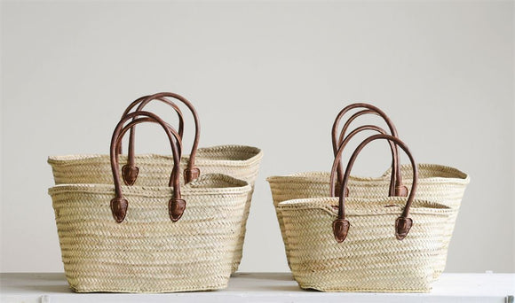 Hand-Woven Moroccan Basket w/ Leather Handle