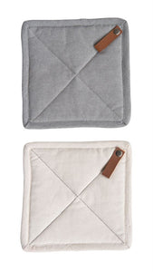 Square Cotton Pot Holder w/ Leather Loop