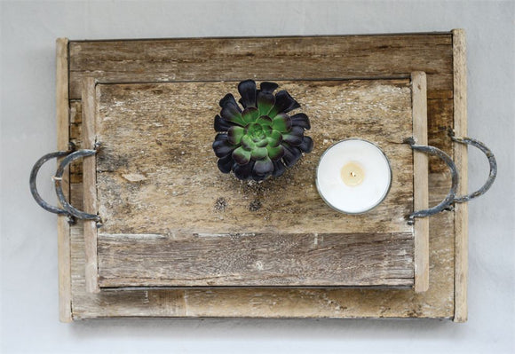Reclaimed Wood Tray w/ Metal Handles