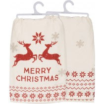 Reindeer Merry Christmas Tea Towel