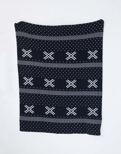 Mini Black & White Mudcloth Print Throw