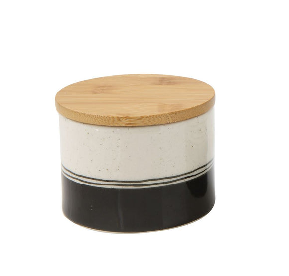 Black Stripe Stoneware Canister w/ Bamboo Lid