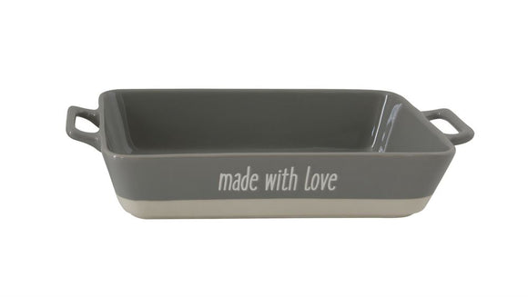 Large Stoneware Made With Love Baking Dish