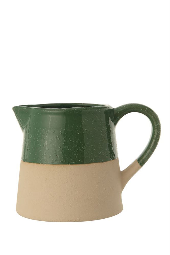 Green Glazed & Matte Stoneware Pitcher
