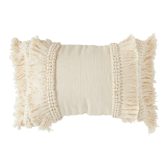 Cream Chenille Lumbar Pillow w/ Fringe