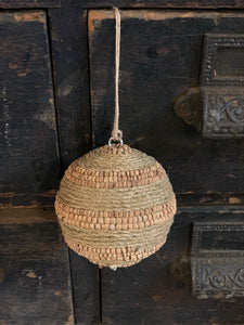 Jute Wrapped & Wood Bead Ball Ornament